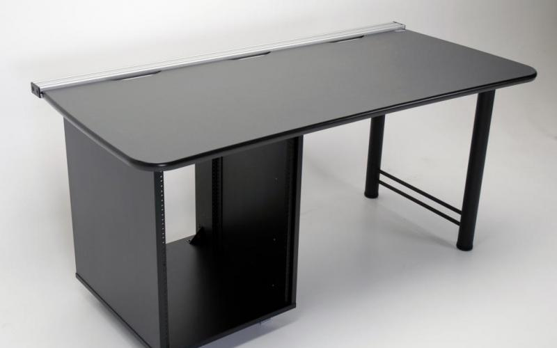 Custom 66 inch desk with 14 ru equipment rack