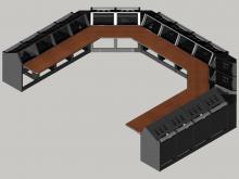 16 bay U shaped Logic System control room console