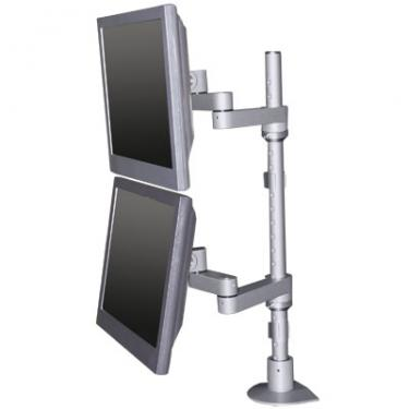 Dual LCD pole mount in silver front view