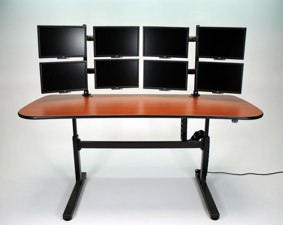 Ergo Mesa Height Adjule Desk Mid Position With 8 Monitors